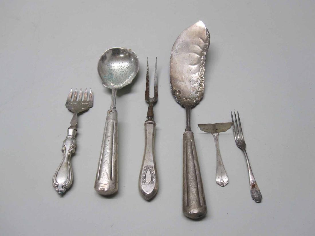STERLING SILVER FOOD PUSHER AND CONDIMENT FORK