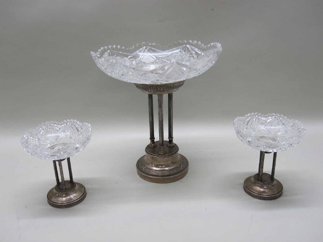 NEOCLASSICAL STYLE SILVER PLATE GARNITURE SET