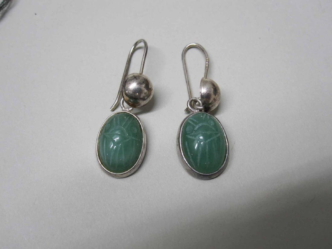 TWO PAIRS OF MEXICAN STERLING SILVER EARRINGS - 3
