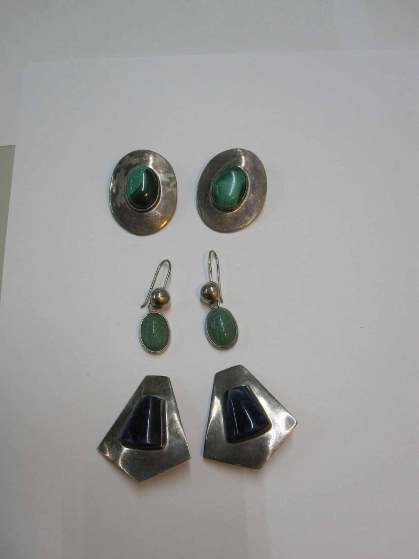 TWO PAIRS OF MEXICAN STERLING SILVER EARRINGS - 4