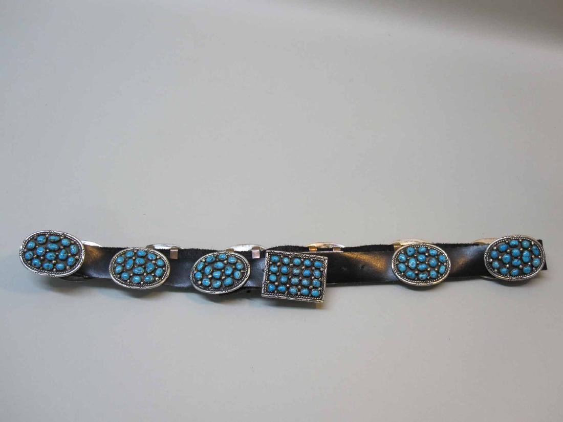 STERLING SILVER & TURQUOISE MOUNTED LEATHER BELT - 4