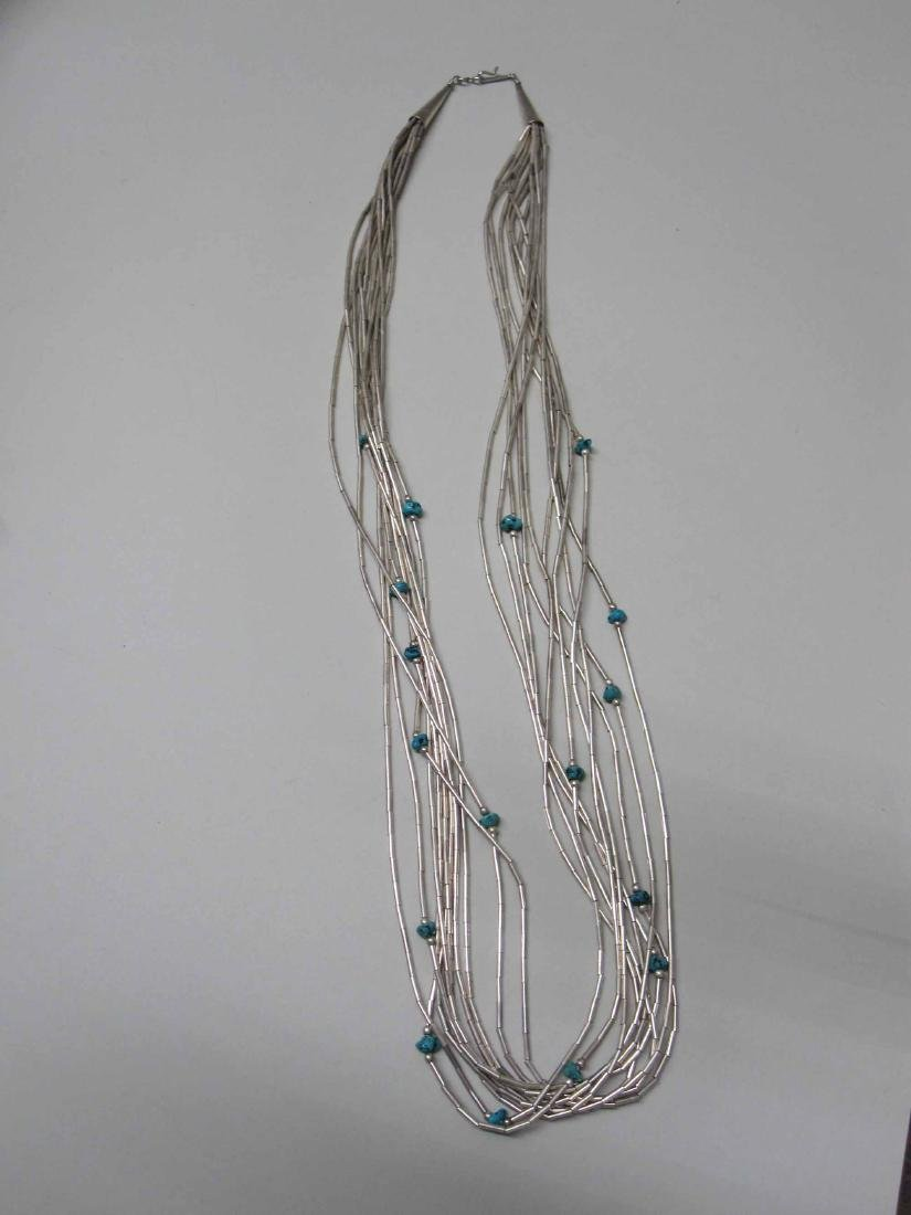 THREE NATIVE AMERICAN STERLING SILVER NECKLACES