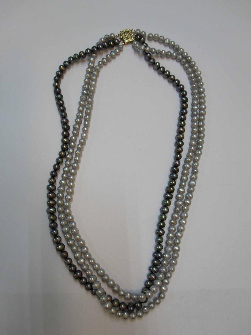 THREE STRAND FRESH WATER GRAY PEARL NECKLACE