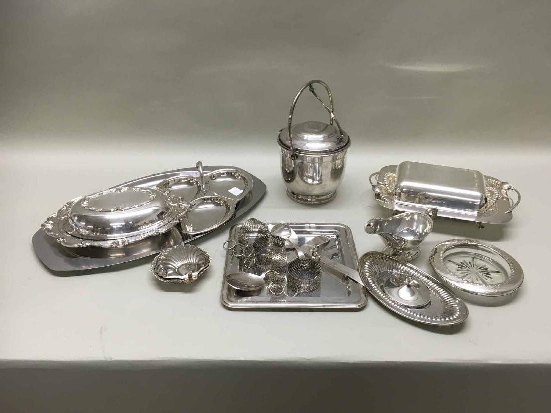 GROUP OF SILVER PLATED & STAINLESS TABLE ARTICLES