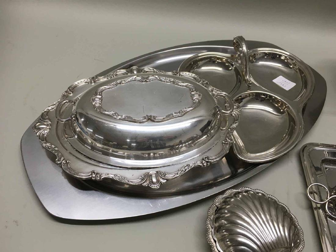 GROUP OF SILVER PLATED & STAINLESS TABLE ARTICLES - 2