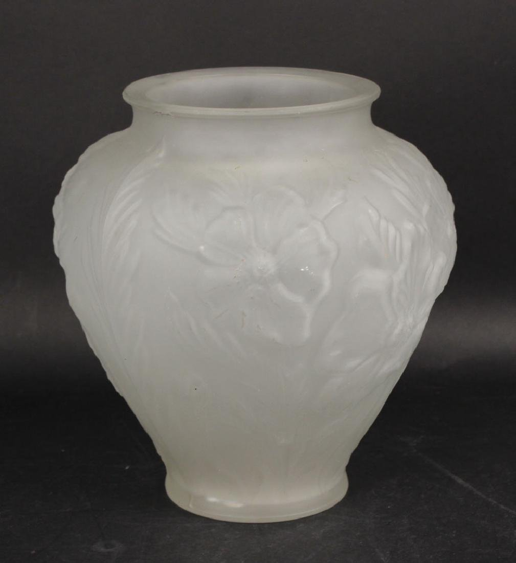 LALIQUE STYLE FROSTED GLASS VASE
