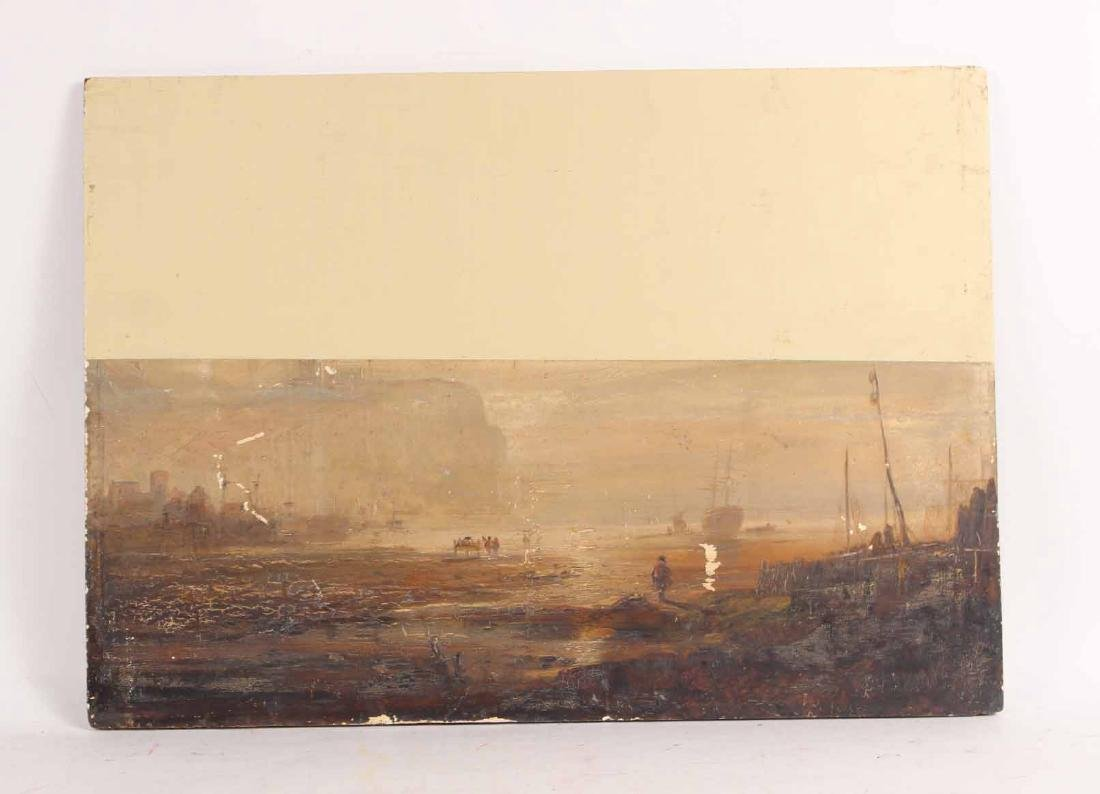OIL ON BOARD OF MARITIME SCENE