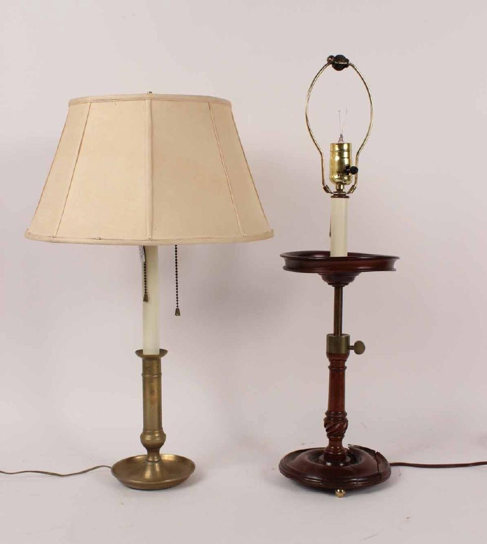 MAHOGANY AND BRASS ADJUSTABLE TABLE LAMP
