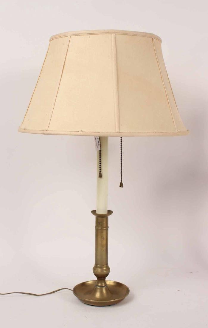 MAHOGANY AND BRASS ADJUSTABLE TABLE LAMP - 2