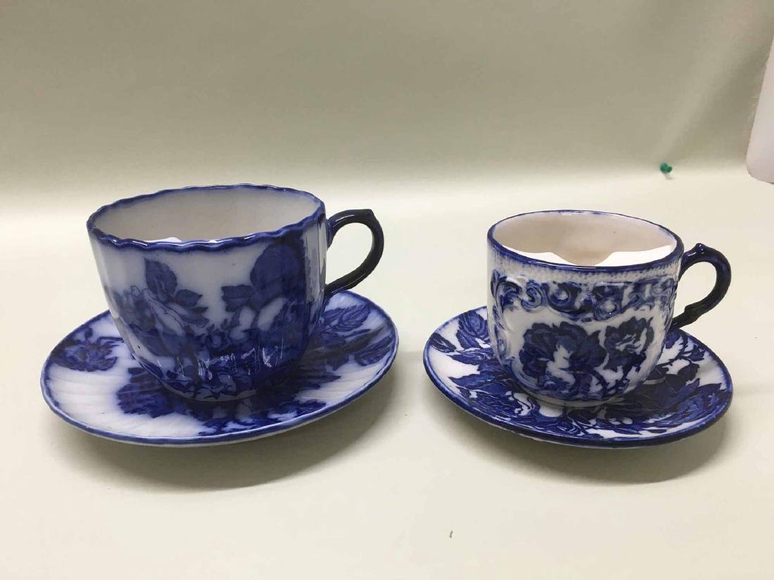 TWO IRONSTONE SHAVING MUGS AND UNDER PLATES