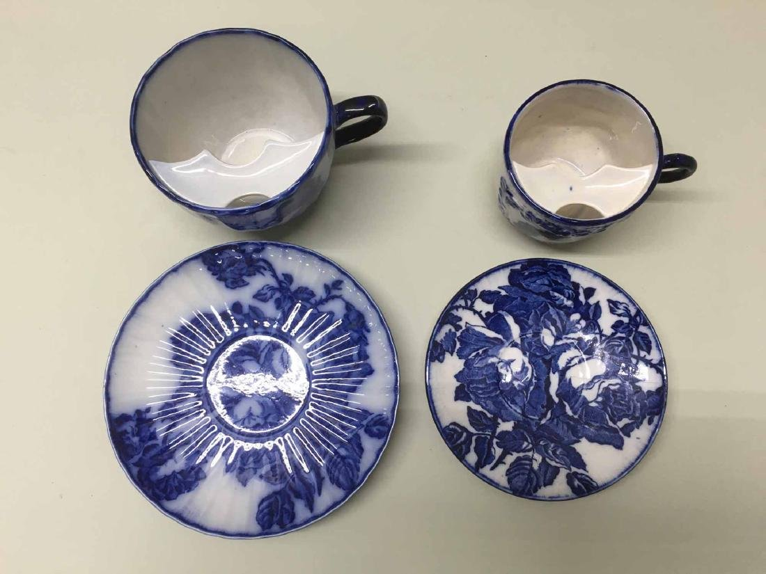 TWO IRONSTONE SHAVING MUGS AND UNDER PLATES - 3