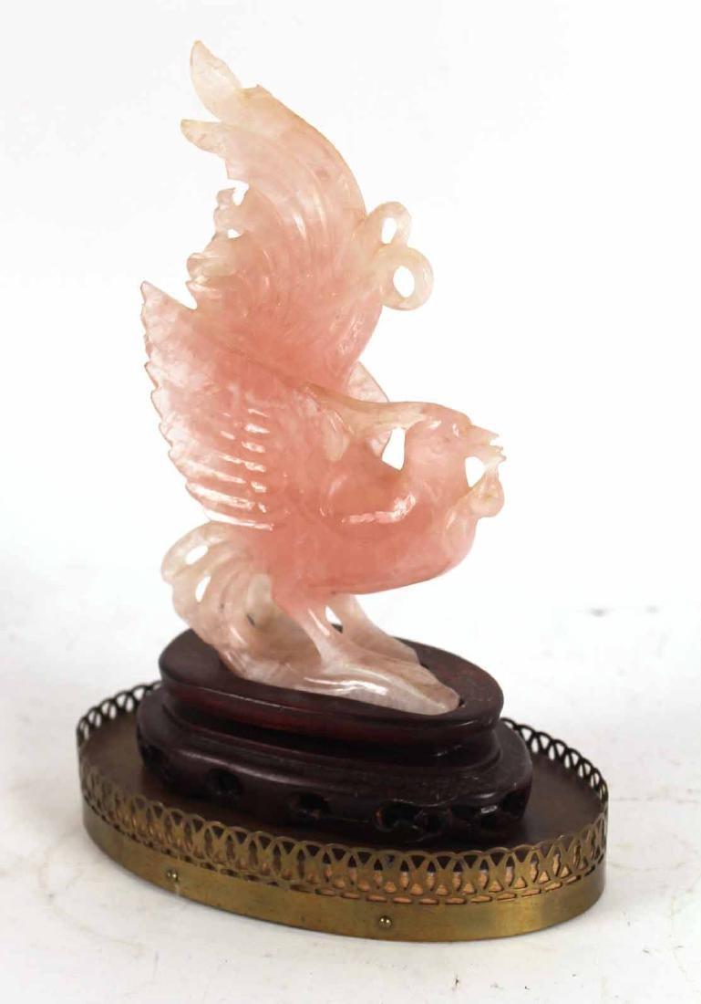 CHINESE PINK QUARTZ DRAGON FIGURE