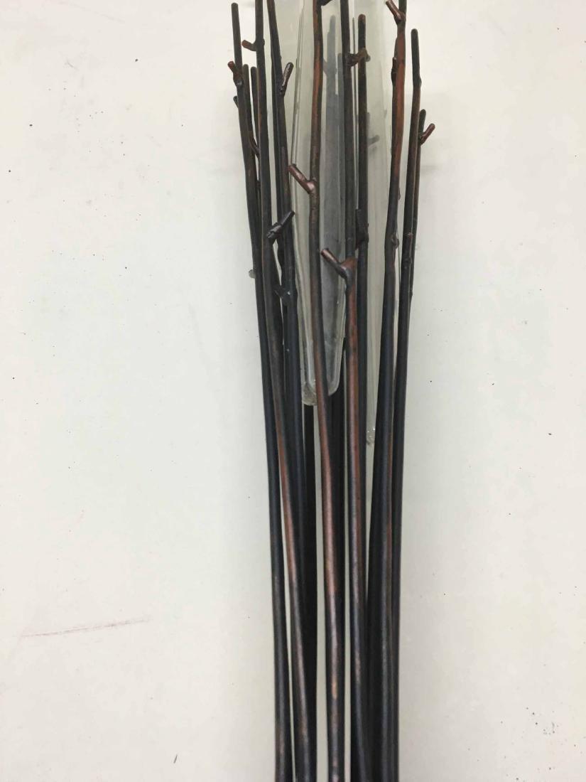 MODERN THREE GLASS VASE PATINATED METAL EPERGNE - 2