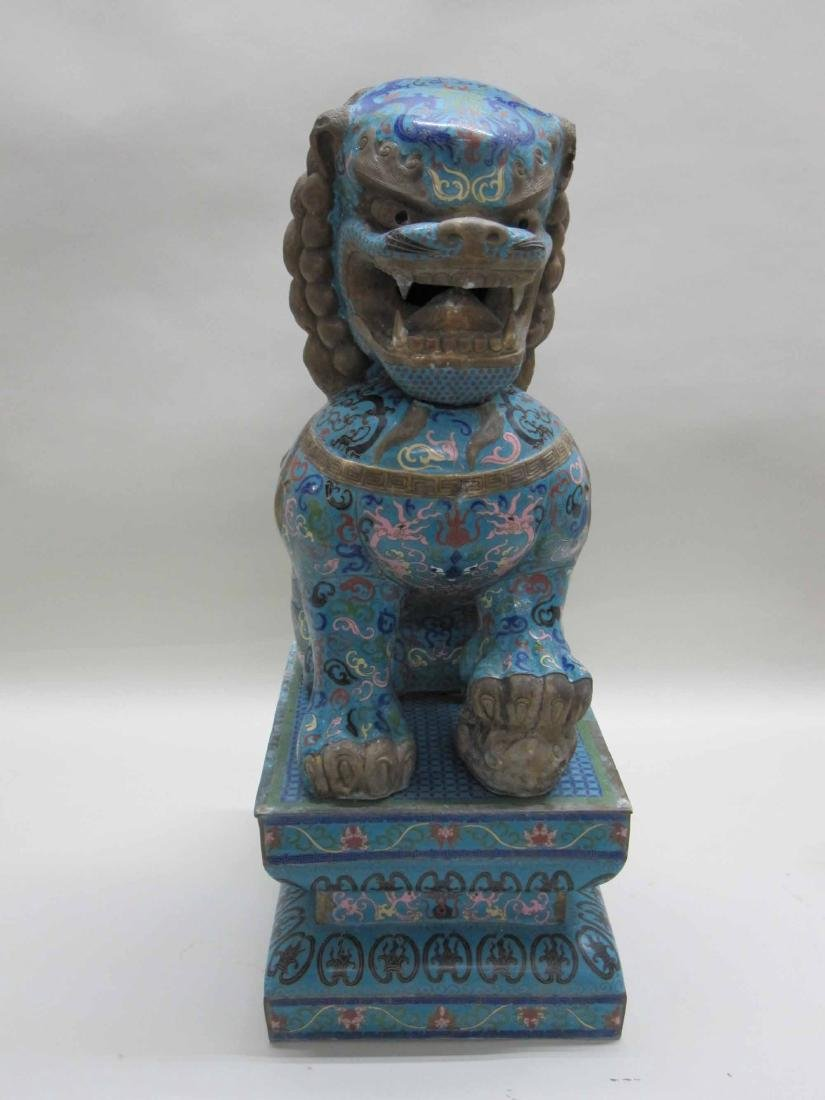 IMPRESSIVE CHINESE CLOISONNE FU DOG AND PEDESTAL