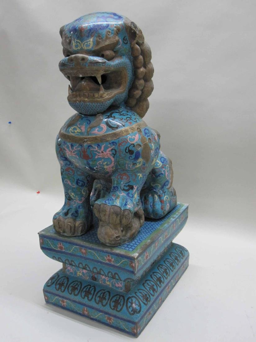 IMPRESSIVE CHINESE CLOISONNE FU DOG AND PEDESTAL - 2