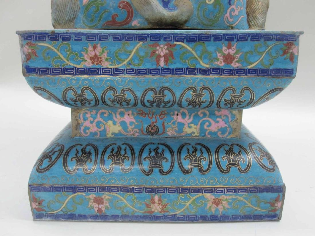 IMPRESSIVE CHINESE CLOISONNE FU DOG AND PEDESTAL - 6