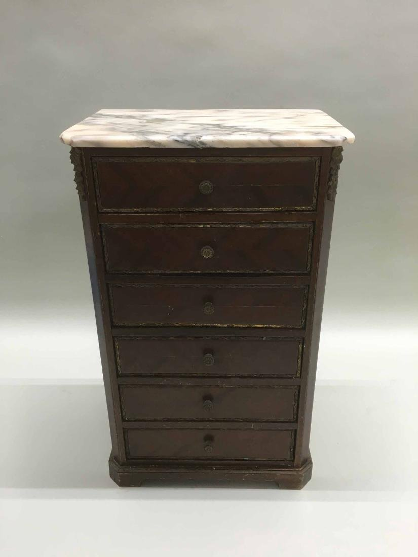 DIMINUTIVE MAHOGANY MARBLE TOP SIX DRAWER CHEST