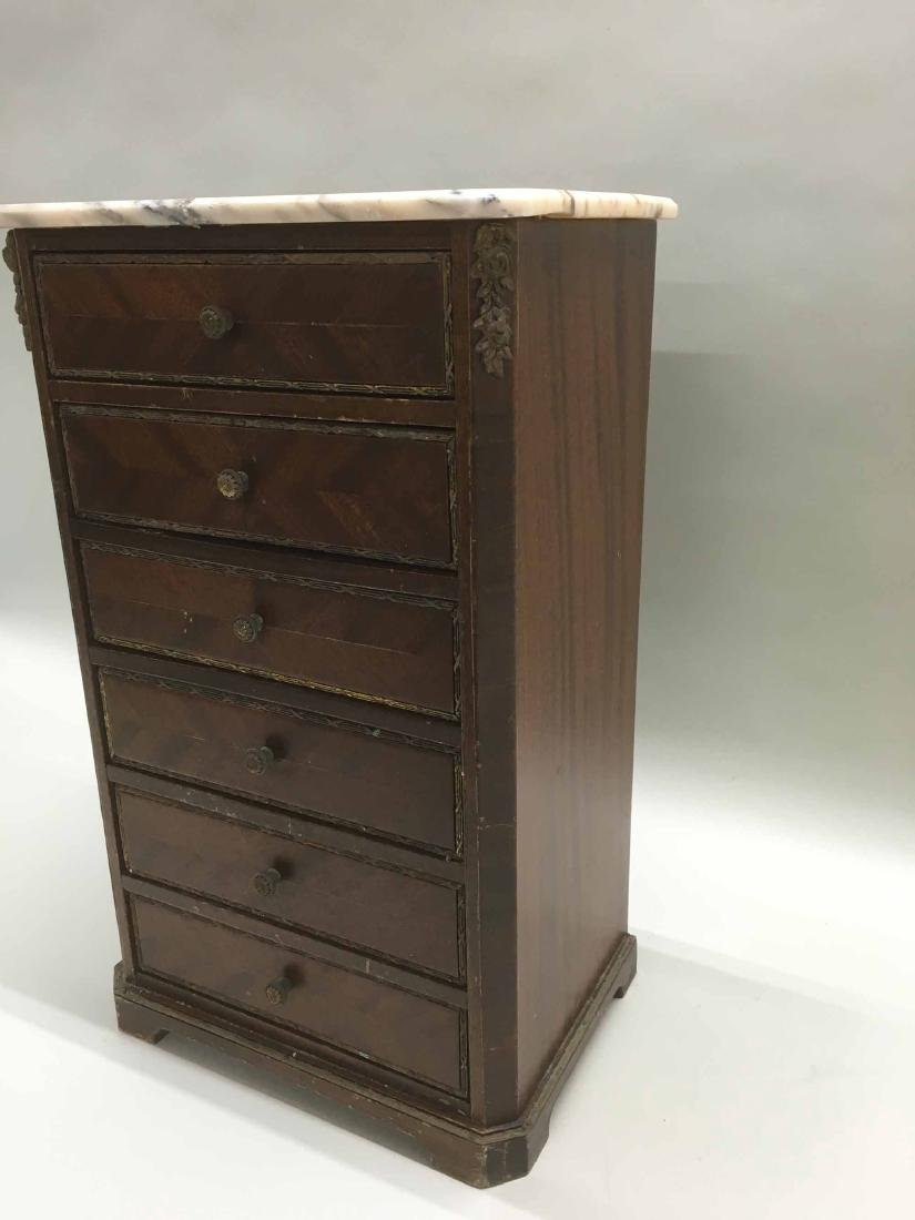 DIMINUTIVE MAHOGANY MARBLE TOP SIX DRAWER CHEST - 2