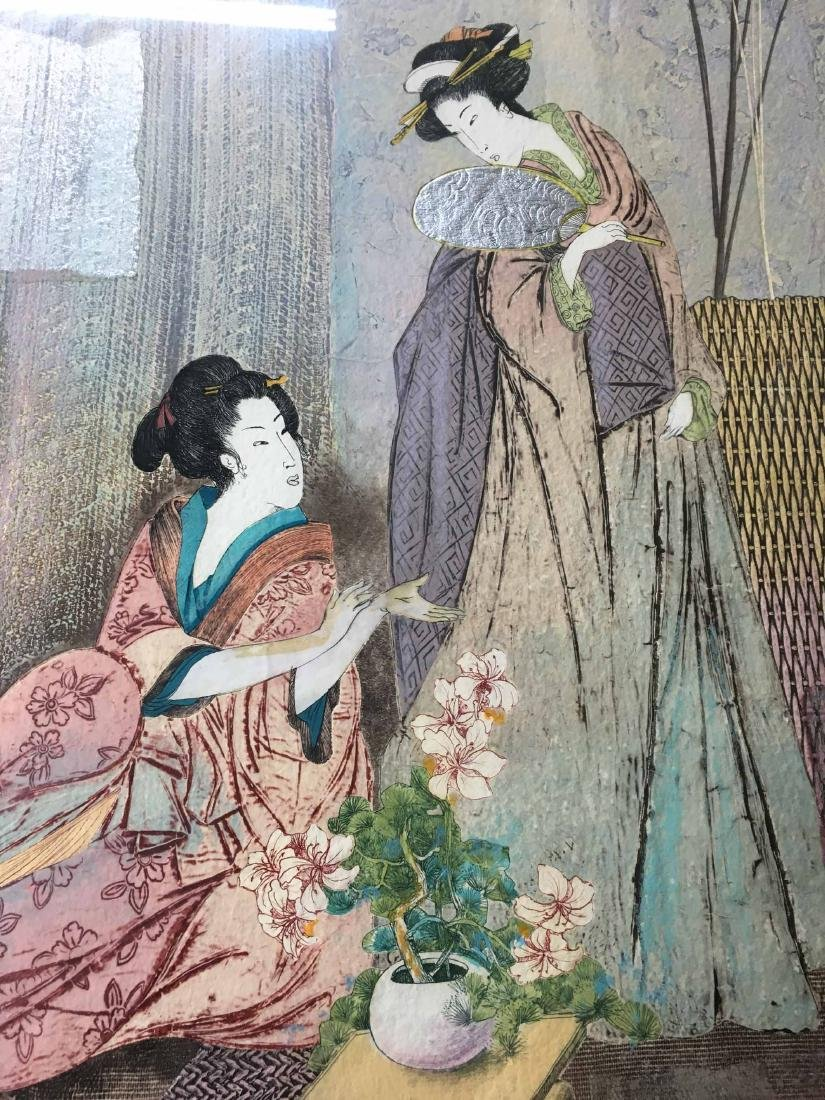 JAPANESE MIXED MEDIA ON HANDMADE PAPER, 2 GEISHAS