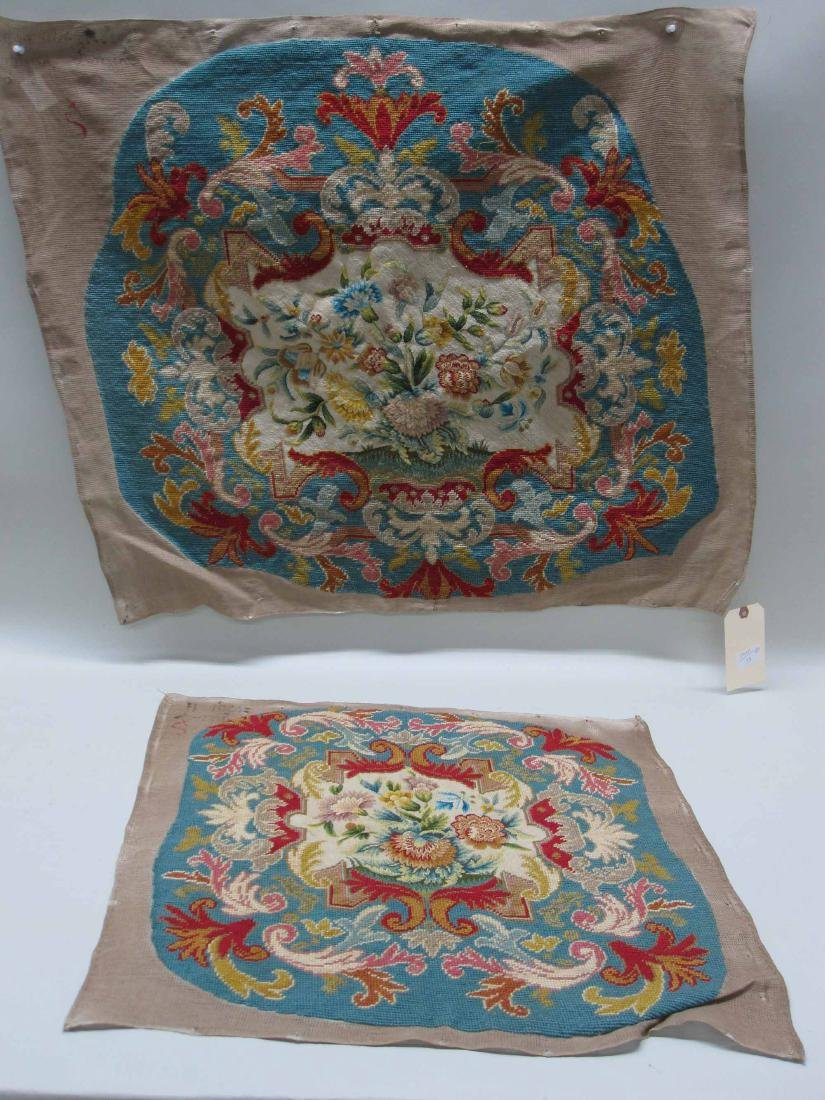 TWO NEEDLEWORK CHAIR COVERS - 2
