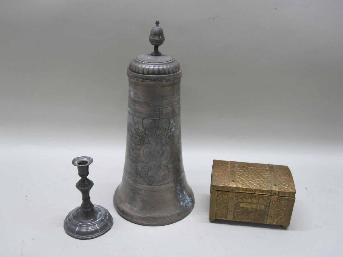 PEWTER TANKARD AND CANDLESTICK