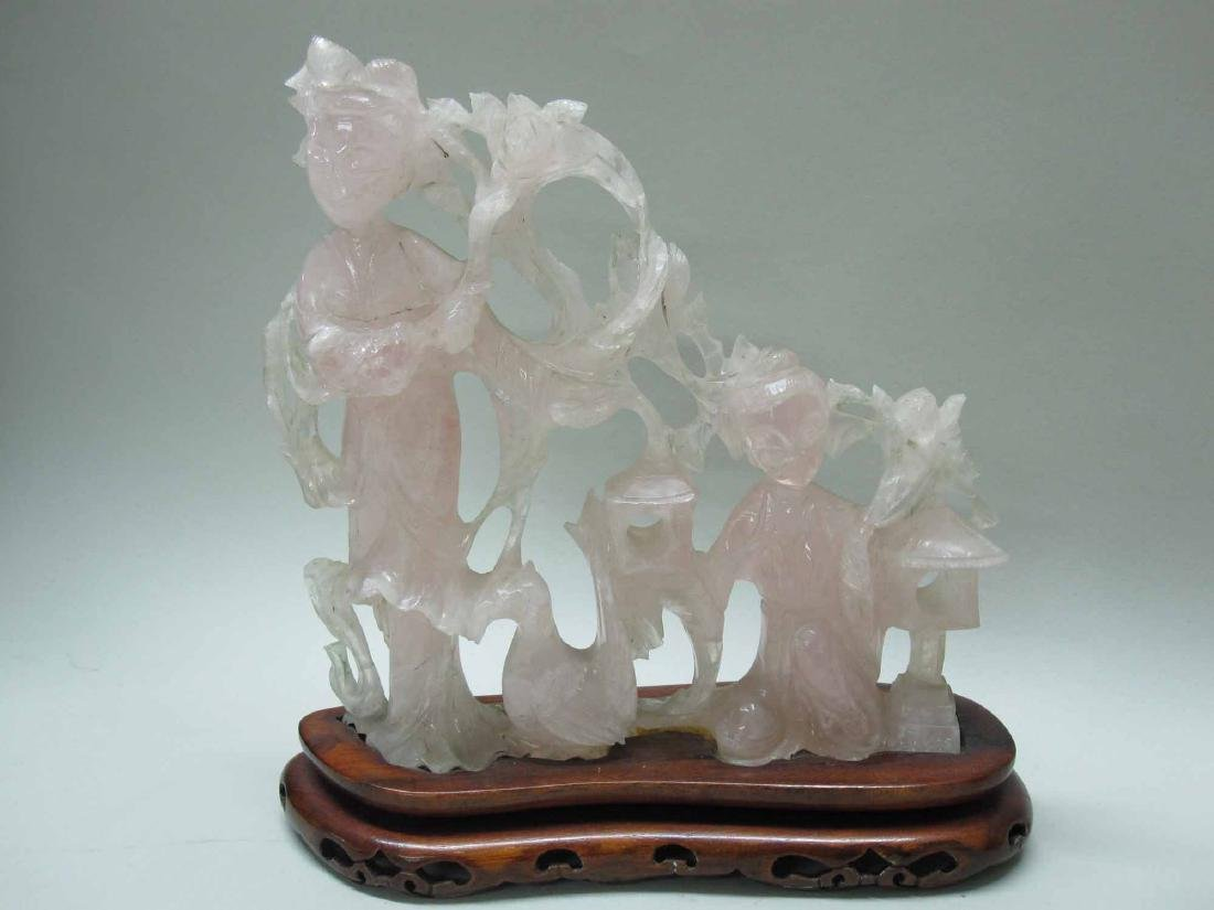 THREE THAI ROSE QUARTZ FIGURES - 2