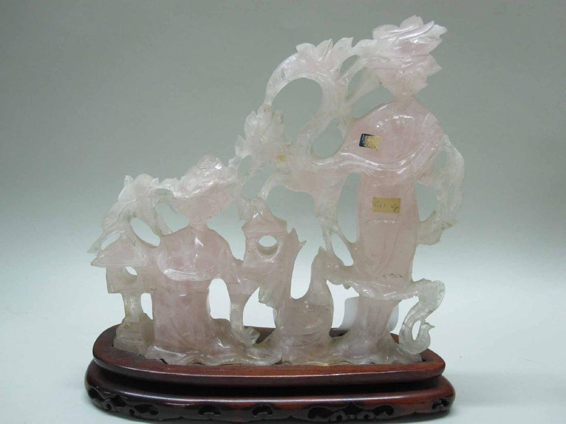 THREE THAI ROSE QUARTZ FIGURES - 6