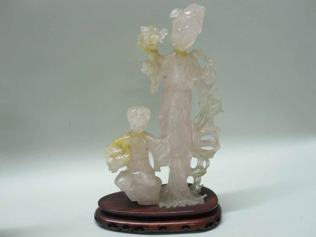 THREE THAI ROSE QUARTZ FIGURES - 7