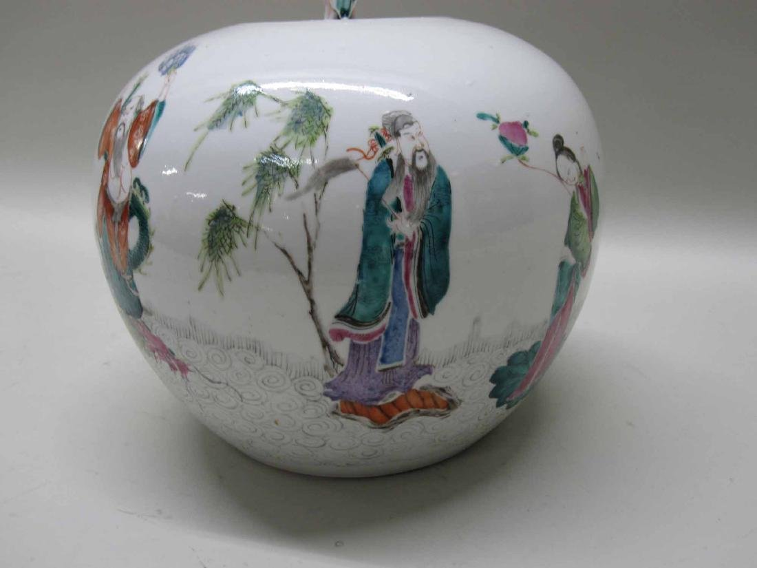 CHINESE PORCELAIN COVERED JAR - 2
