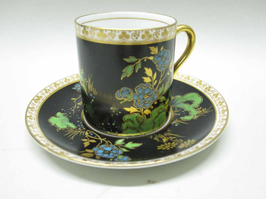 SHELLEY PORCELAIN DEMI-TASSE CUPS AND SAUCERS