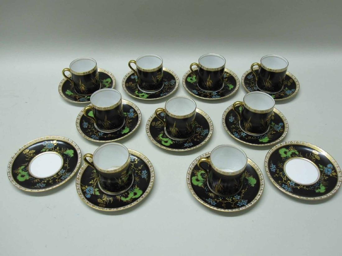 SHELLEY PORCELAIN DEMI-TASSE CUPS AND SAUCERS - 2