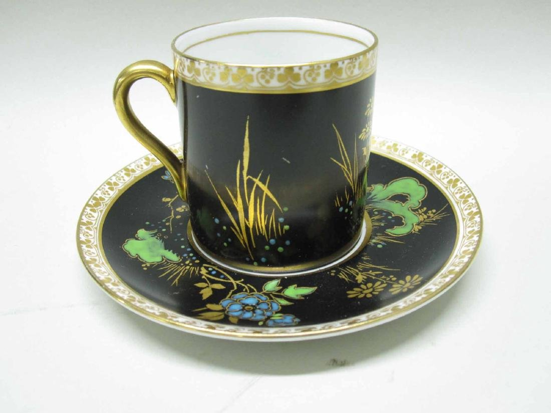 SHELLEY PORCELAIN DEMI-TASSE CUPS AND SAUCERS - 3