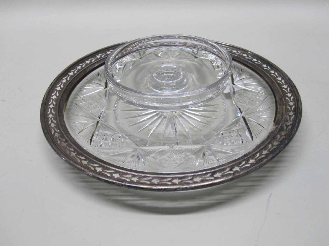 CUT CRYSTAL STERLING SILVER MOUNTED SERVING DISH
