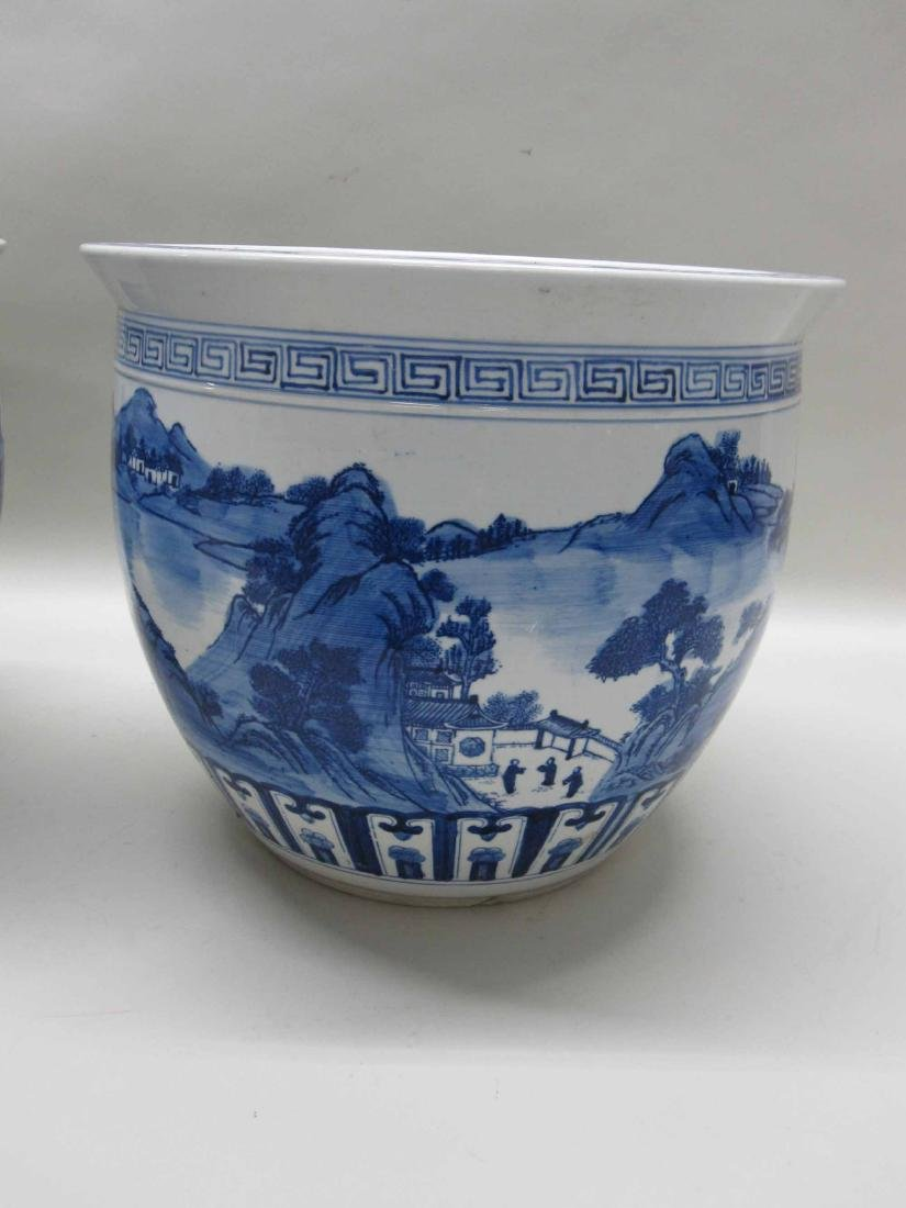 CHINESE BLUE AND WHITE PORCELAIN CACHE POTS - 4