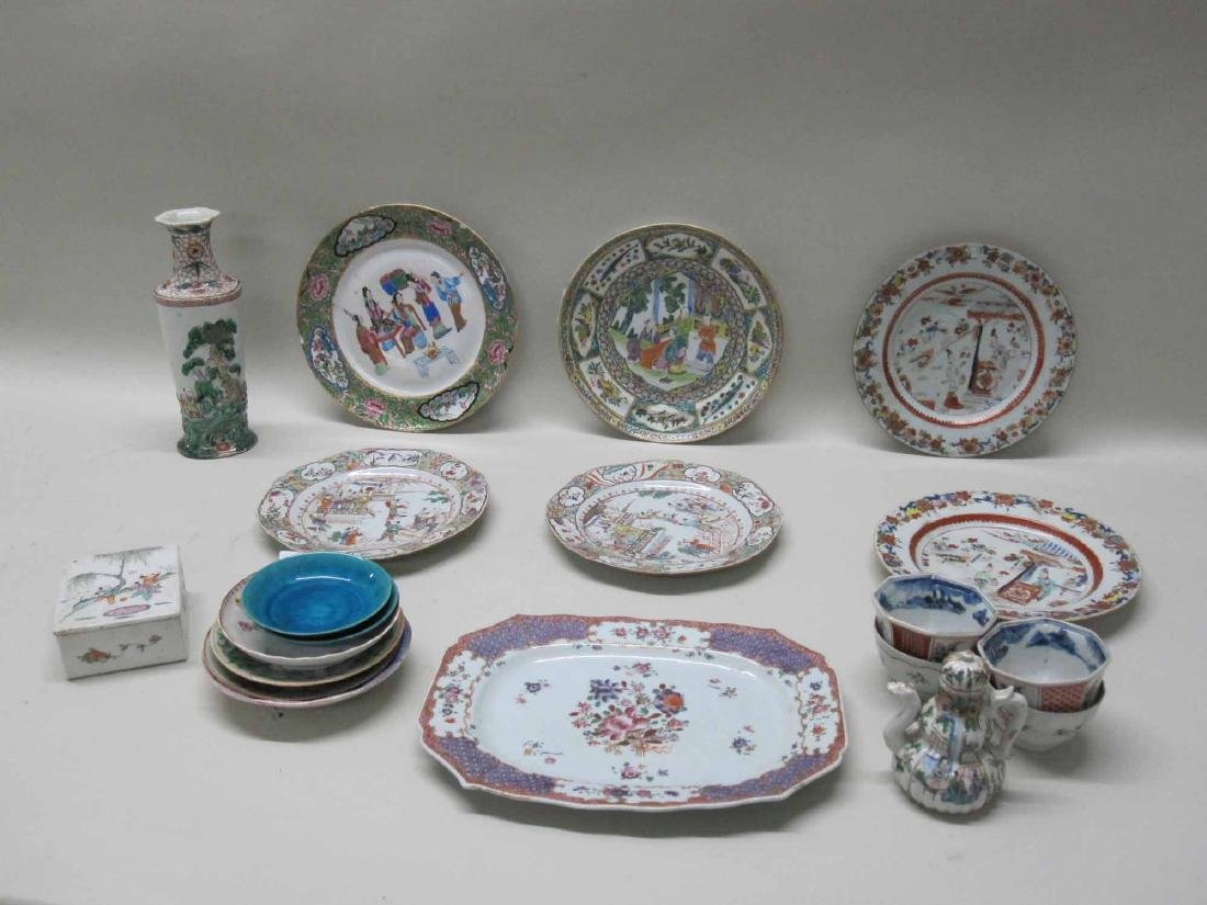 CHINESE EXPORT BOWLS, PLATES, AND PLATTERS - 4
