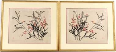 TWO ORIENTAL PAINTINGS ON SILK OF FLOWERS & BIRDS