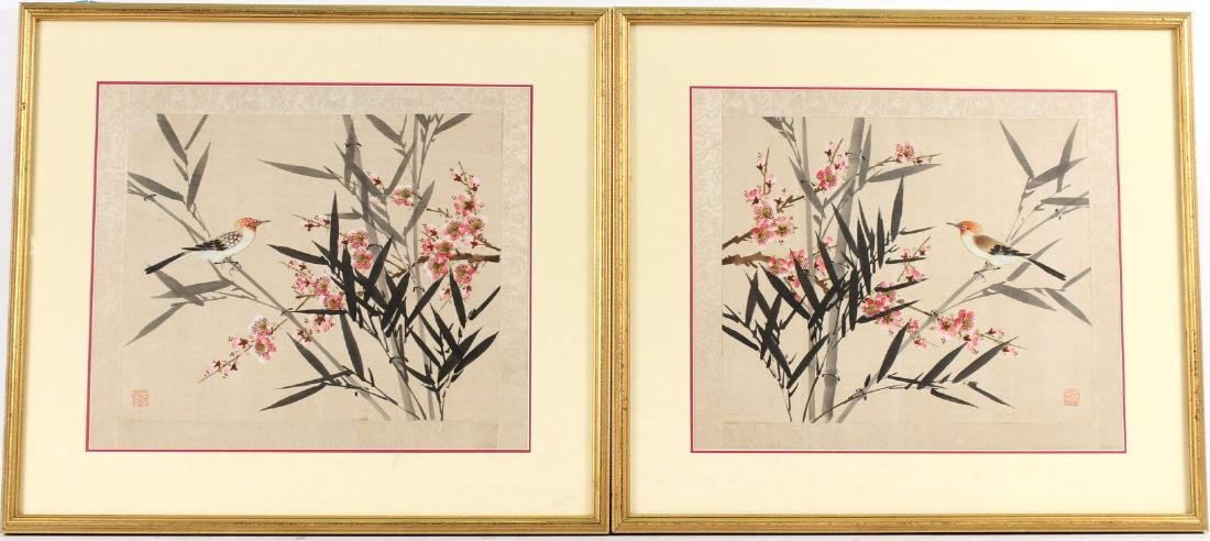 TWO ORIENTAL PAINTINGS ON SILK OF FLOWERS & BIRDS