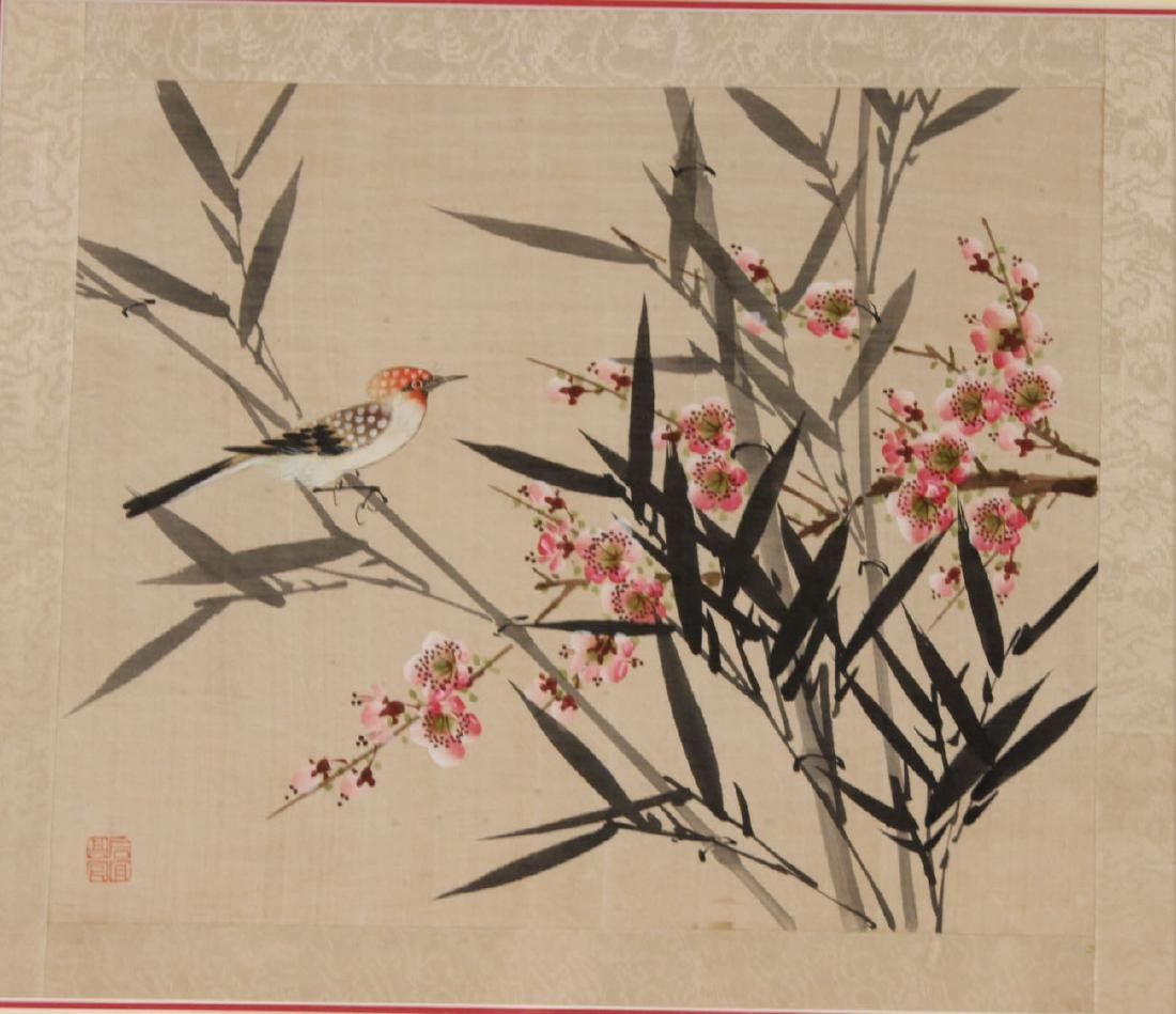 TWO ORIENTAL PAINTINGS ON SILK OF FLOWERS & BIRDS - 3
