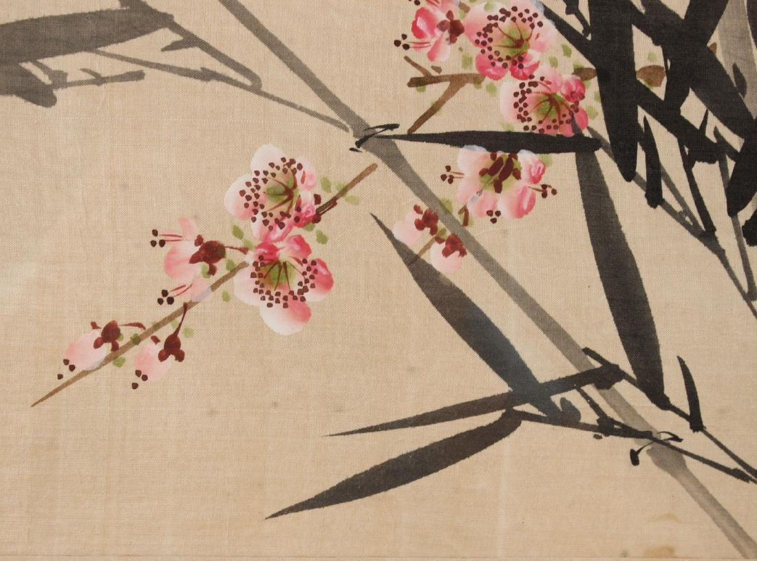 TWO ORIENTAL PAINTINGS ON SILK OF FLOWERS & BIRDS - 5