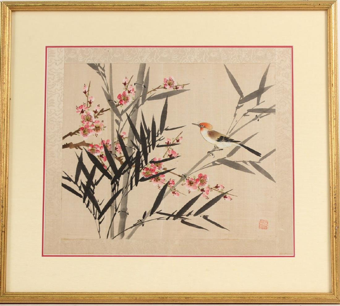 TWO ORIENTAL PAINTINGS ON SILK OF FLOWERS & BIRDS - 7