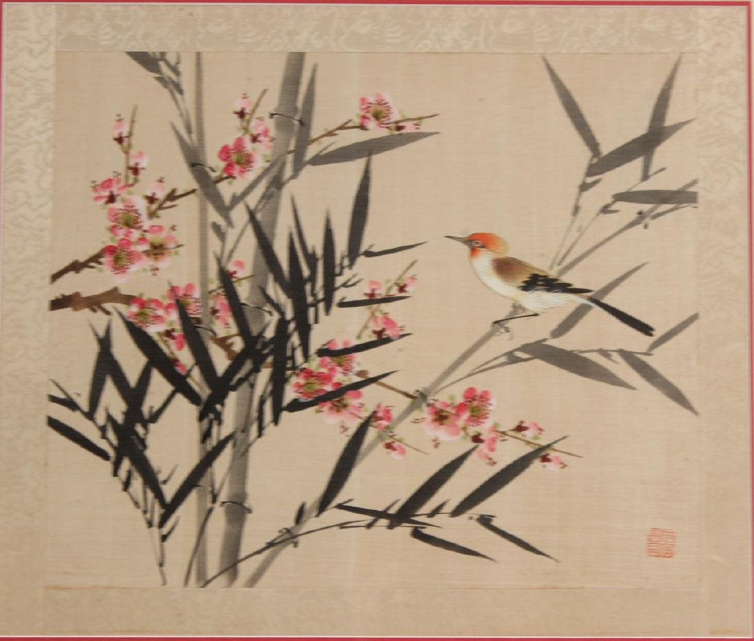 TWO ORIENTAL PAINTINGS ON SILK OF FLOWERS & BIRDS - 8