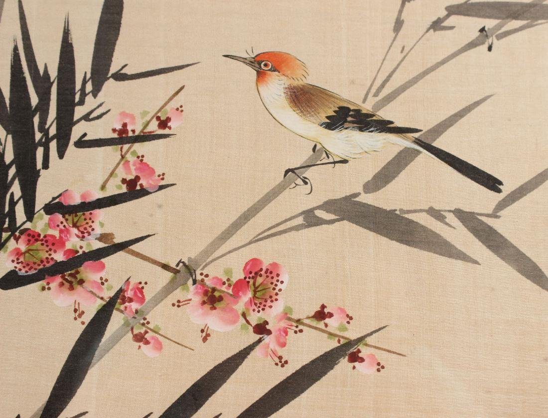TWO ORIENTAL PAINTINGS ON SILK OF FLOWERS & BIRDS - 9