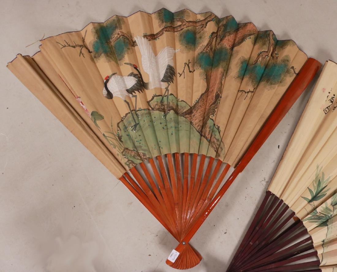 TWO LARGE ORIENTAL STYLE FANS - 2