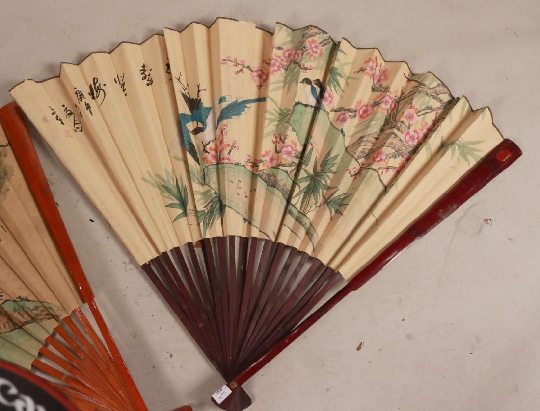 TWO LARGE ORIENTAL STYLE FANS - 5