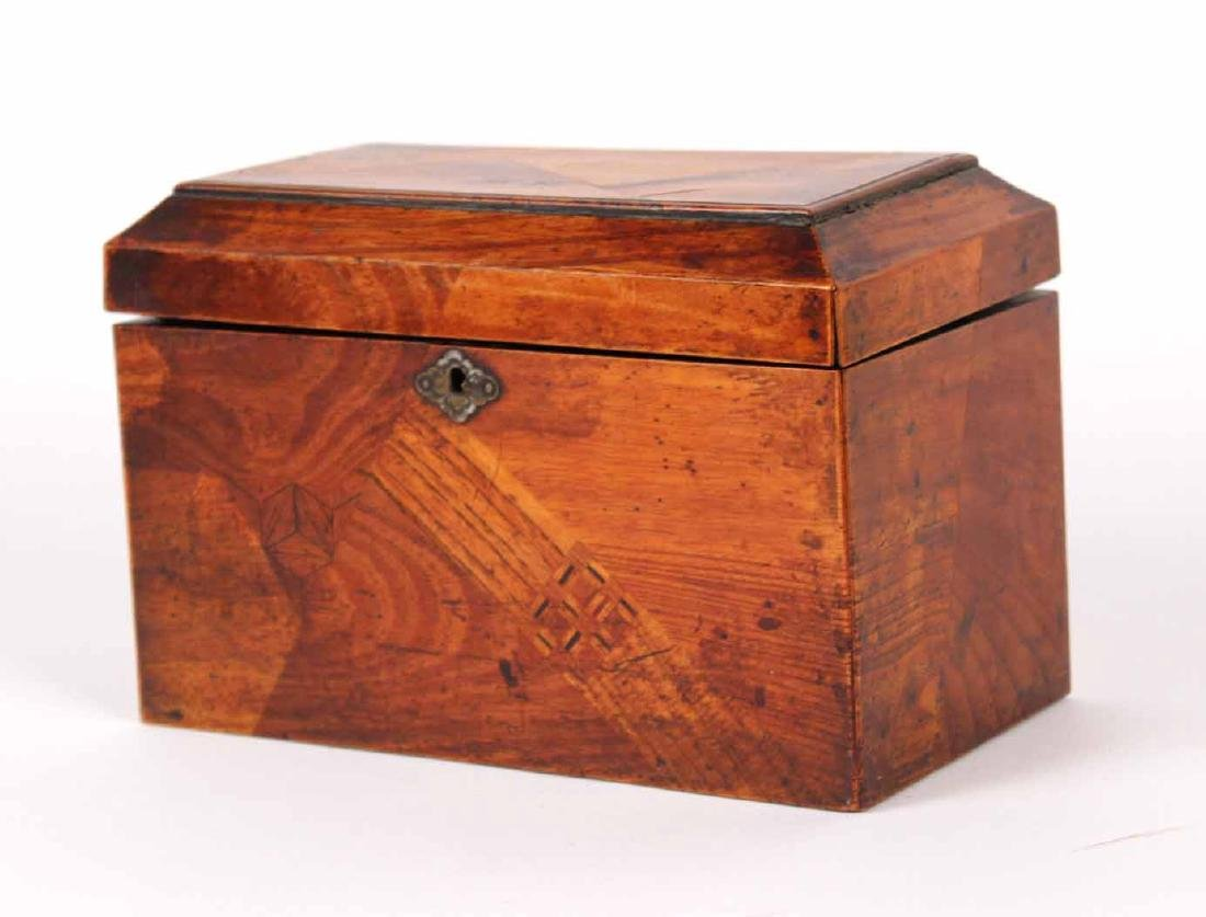INLAID AND LACQUERED TEA CADDY