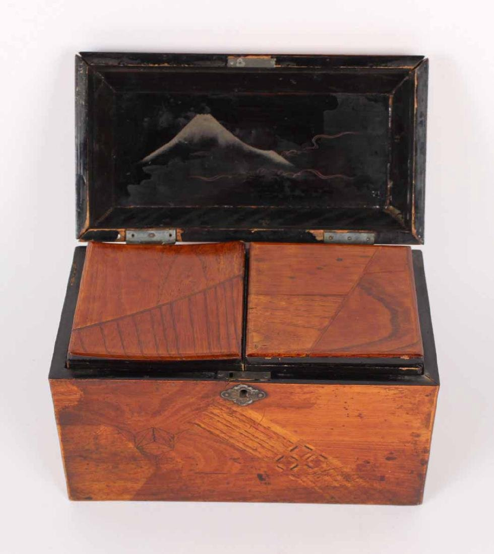 INLAID AND LACQUERED TEA CADDY - 5