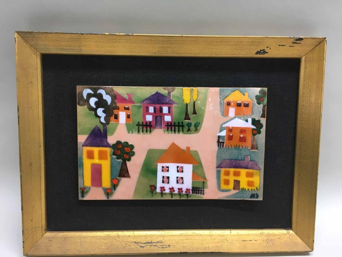 ENAMEL ON COPPER PLAQUE, HOUSES