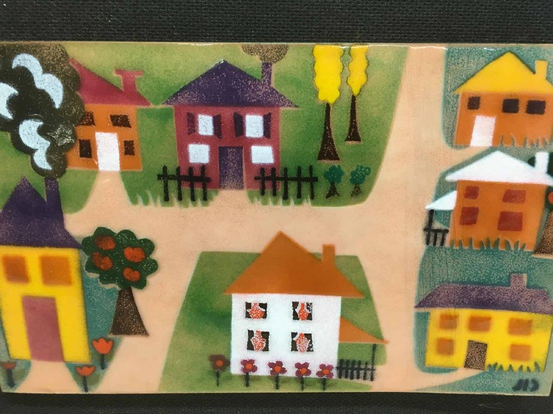 ENAMEL ON COPPER PLAQUE, HOUSES - 2
