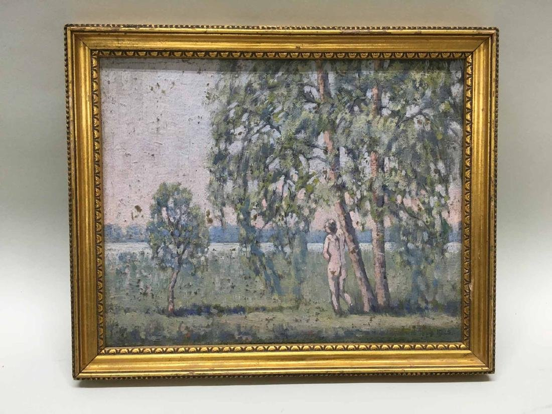 OIL ON BOARD LANDSCAPE WITH STANDING NUDE