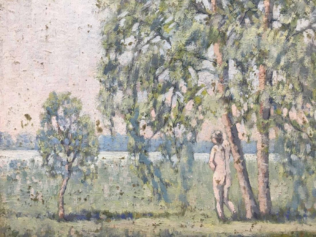 OIL ON BOARD LANDSCAPE WITH STANDING NUDE - 2